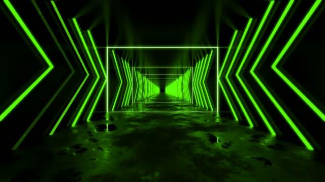 vidéos et rushes de boucle verte de couloir de vj - infini