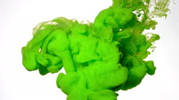 Green watercolor ink in water on a white background. Beautiful abstract background.