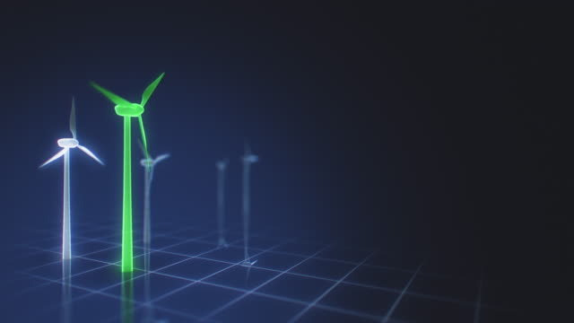 green wind turbines on a futuristic grid interface - design element stock videos & royalty-free footage