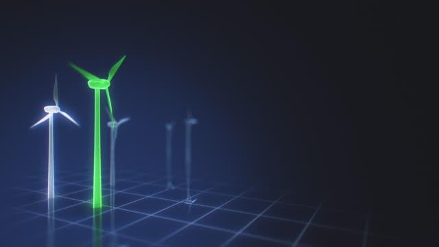 vídeos de stock, filmes e b-roll de turbinas de vento verdes em uma relação futurista da grade - elemento de desenho