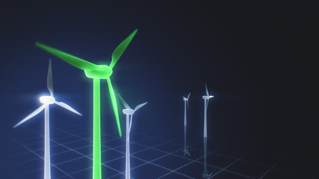 green wind turbines on a futuristic grid interface - five objects stock videos & royalty-free footage