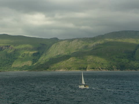 vidéos et rushes de green woodland cliffs, boat on calm  , tranquil, natural, idyllic - mull