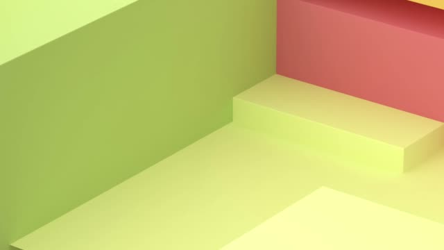 vídeos de stock e filmes b-roll de green yellow red geometric shape motion 3d rendering - square