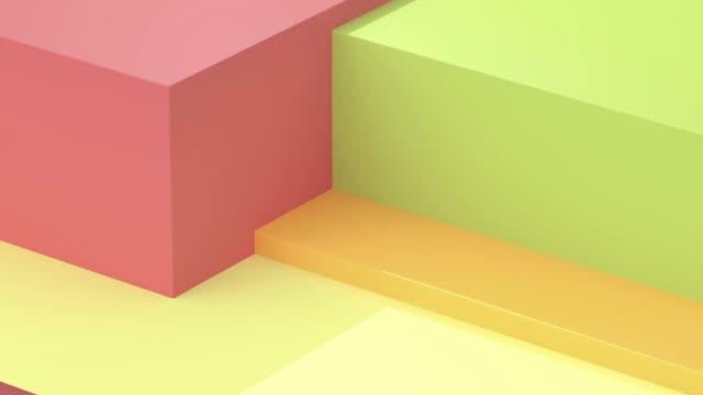 vídeos y material grabado en eventos de stock de verde amarillo rojo forma geométrica movimiento 3d renderizado - inocencia