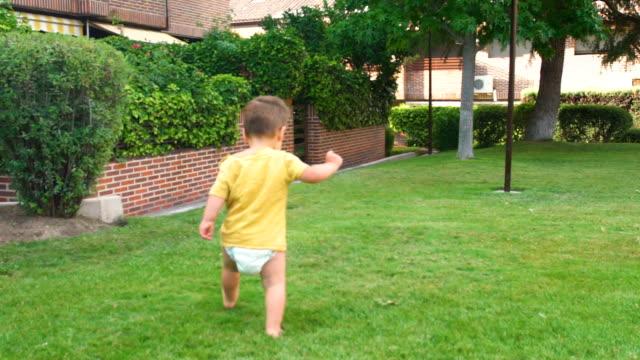 stockvideo's en b-roll-footage met greenery - children playing in the garden - alleen jongens