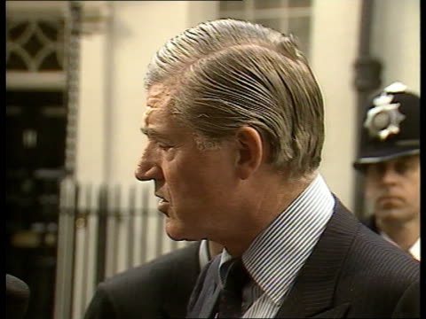 Greenhouse effect seminar Cecil Parkinson speaking to press at Downing Street SOF 'Nuclear worldwide arguments develop'