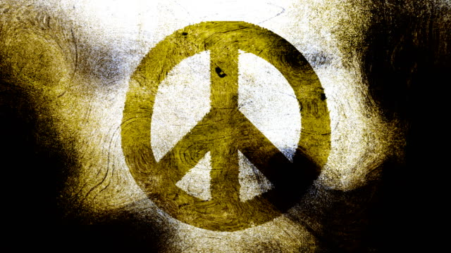 Greenish yellow peace symbol on a high contrasted grungy and dirty, animated, distressed and smudged 4k video background with swirls and frame by frame motion feel with street style for the concepts of peace, world peace, no war, protest, and tranquility