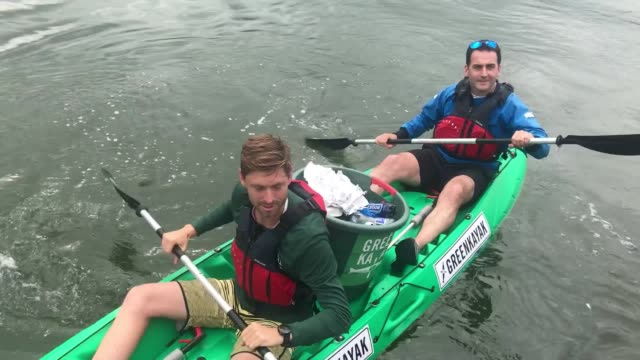 greenkayak a danish based ngo in partnership with dublin's 'city kayaking' launch the dublin greenkayak initiative it aims to collect plastic from... - kayak stock videos & royalty-free footage