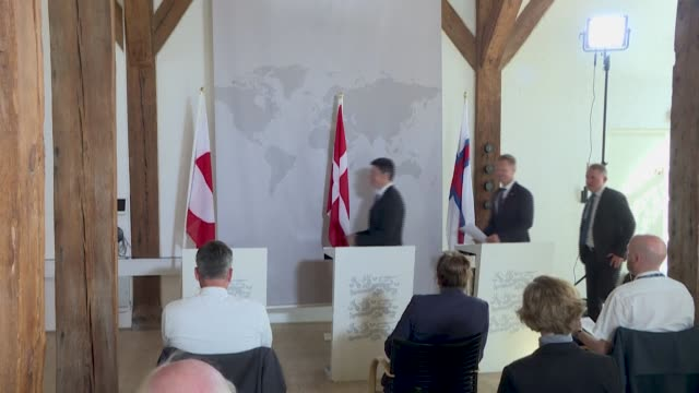 greenlandic foreign affairs and energy minister steen lynge gives a press conference with denmark's foreign minister jeppe kofod and the faroe... - oresund region stock videos & royalty-free footage