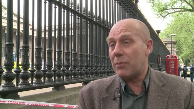 greenpeace protest at british museum greenpeace representative interview sot - itv london lunchtime news点の映像素材/bロール