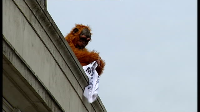 Greenpeace protest outside Unilever headquarters ENGLAND London EXT Greenpeace protestors dressed as orangutans demonstrating outside the Unilever...