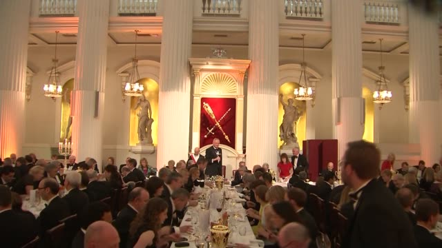 greenpeace protesters disrupt philip hammond's mansion house speech england london city of london mansion house int peter estlin raising toast to... - lord mayor of london city of london stock videos & royalty-free footage