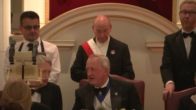 greenpeace protesters disrupt philip hammond's mansion house speech england london city of london mansion house minutes** peter estlin sitting and... - lord mayor of london city of london stock videos & royalty-free footage