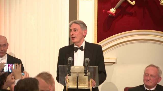 greenpeace protesters disrupt philip hammond's mansion house speech england london city of london mansion house int **siren sounds sot** philip... - lord mayor of london city of london stock videos & royalty-free footage