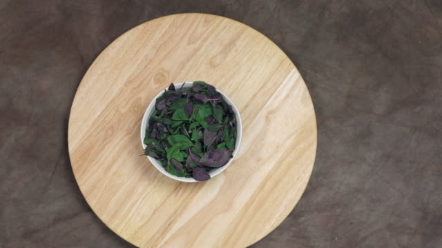 Greens on lazy susan