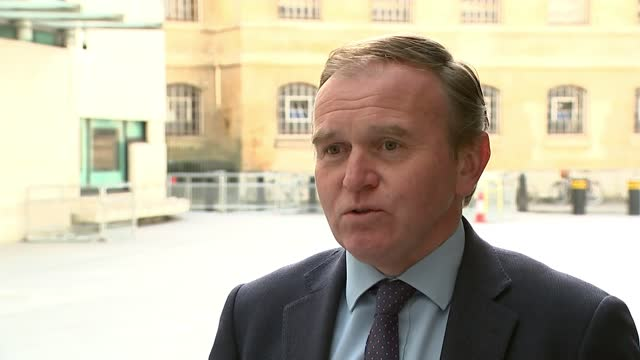 greensill lobbying scandal: george eustice defends david cameron's role as further details emerge; england: london: new broadcasting house: ext... - politics stock-videos und b-roll-filmmaterial