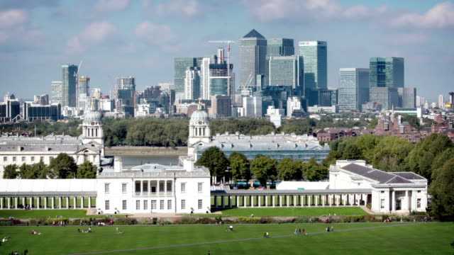 greenwich and canary wharf, london - hsbc towers stock videos and b-roll footage