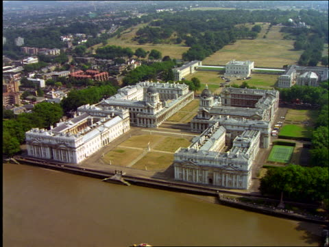 aerial greenwich naval staff college on the thames / greenwich, england - royal navy college greenwich stock videos & royalty-free footage