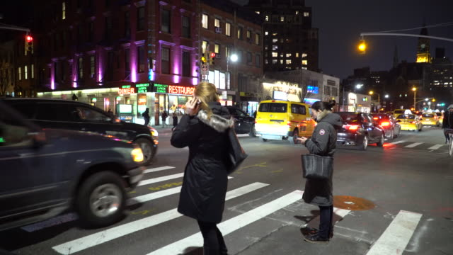 Greenwich Village NYC, Waverly Diner, Pedestrians Crossing Street