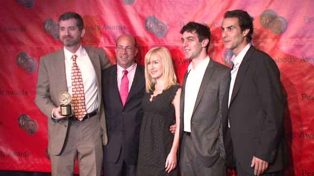 greg daniels jeff zucker angela kinsey bj novak and ben silverman at the 66th annual peabody awards press room at waldorf astoria in new york new... - angela kinsey stock videos and b-roll footage
