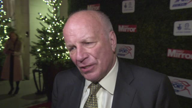 stockvideo's en b-roll-footage met interview greg dyke on sepp blatter fifa and commemorations of the paris attacks at daily mirror pride of sport awards at the grosvenor house hotel... - daily mirror