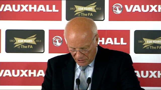 greg dyke sets out plans for england world cup win in 2022 england london int greg dyke press conference sot - greg dyke stock videos & royalty-free footage