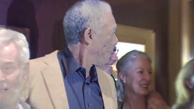 Greg Kinnear Radha Mitchell Robert Benton and Morgan Freeman at the New York screening of 'Feast of Love' at Dolby 88 Screening Room in New York New...