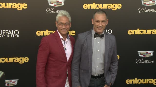 """greg louganis, johnny chaillot at """"entourage"""" los angeles premiere at regency village theatre on june 01, 2015 in westwood, california. - regency village theater stock videos & royalty-free footage"""