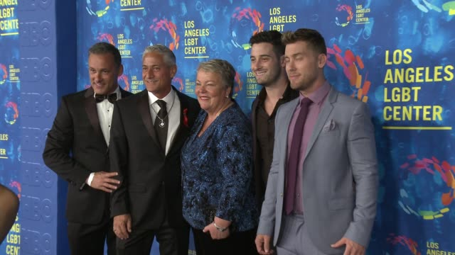 greg louganis lance bass michael turchin johnny chaillot and lorri l jean at the los angeles lgbt center's 47th anniversary gala vanguard awards at... - lance bass stock videos and b-roll footage