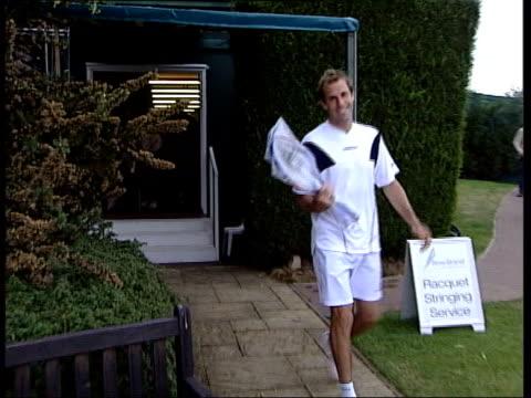 Greg Rusedski fails drugs test LIB London Wimbledon Tennis player Greg Rusedski along with racquets at All England Lawn Tennis Club PAN