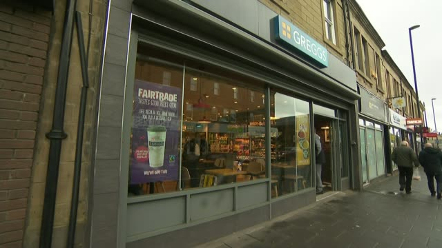 greggs sales top £1bn for the first time uk newcastle upon tyne / london general views of greggs bakery shop in gosforth and roger whiteside... - bakery stock videos and b-roll footage