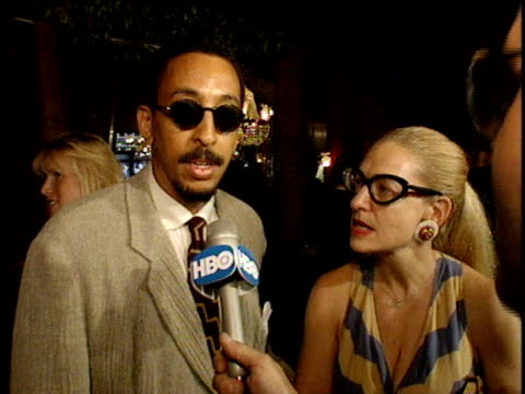 gregory hines and wife, pamela koslow talking to reporters on red carpet about jack nicholson & being in to werewolves. - jack nicholson stock videos & royalty-free footage