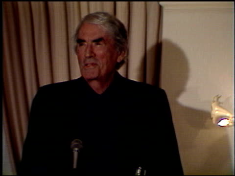 gregory peck at the la film critics awards 1992 at the bel age hotel in west hollywood california on january 1 1992 - gregory peck stock videos and b-roll footage