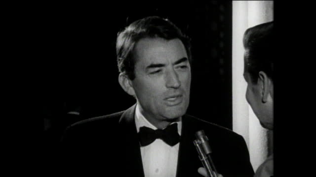 gregory peck interview talking about the sound of music at the movie premiere in los angeles - gregory peck stock videos and b-roll footage