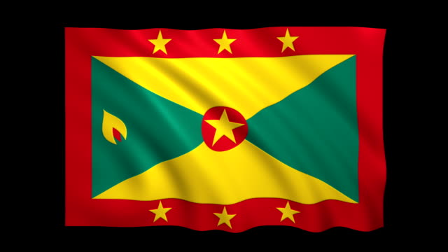 grenada flag loopable alpha included - stock video - satin stock videos & royalty-free footage
