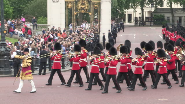 grenadier guards band  at buckingham palace - 近衛兵点の映像素材/bロール