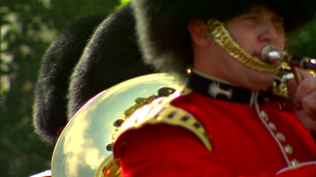 grenadier guards band brass section horn while walking w/ reflection of musicians in next row, tall bearskin hat behind. public, daily, ceremony,... - brass stock videos & royalty-free footage