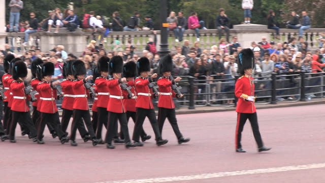 ms ts grenadier guards marching at buckingham palace audio / london, united kingdom - marching stock videos and b-roll footage
