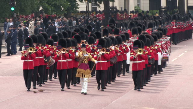 ms ts grenadier guards marching at buckingham palace audio / london, united kingdom - military parade stock videos and b-roll footage