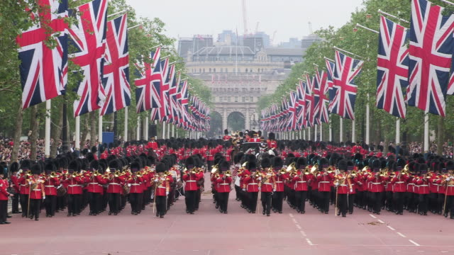 grenadier guards parade at buckingham palace - british culture stock videos & royalty-free footage