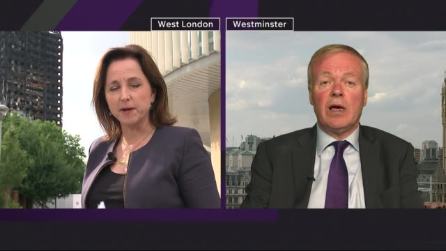 did window renovations contrubute to spread of fire england london north kensington ext clive betts mp 2 way interview from westminster sot - jackie long stock videos & royalty-free footage