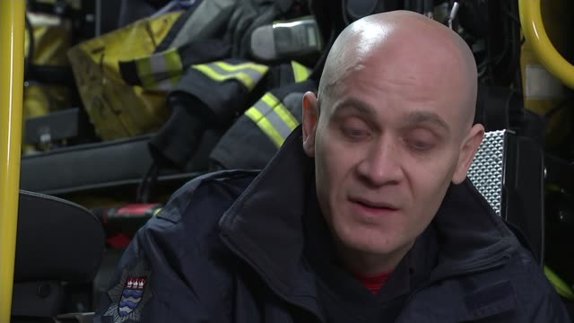 Firefighters who tried to save lives at Grenfell to run the London Marathon INT David Badillo interview SOT Various shots Red Watch firefighters in...