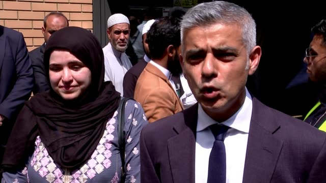 first funeral held for victim of fire ext muzna alnaib reading statement to press sot london mayor sadiq khan speaking to press sot the thoughts and... - sadiq khan stock videos & royalty-free footage