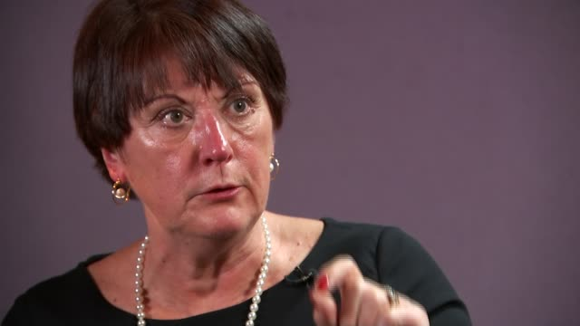 government promises review on banning flammable cladding after report backlash; england: london: int dame judith hackitt interview with reporter sot - flammable stock videos & royalty-free footage