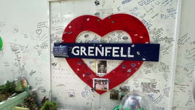 grenfell tower fire inquiry: building controller quit job weeks before fire due to work pressures; england: london: north kensington: ext memorial... - イングランド南東部点の映像素材/bロール