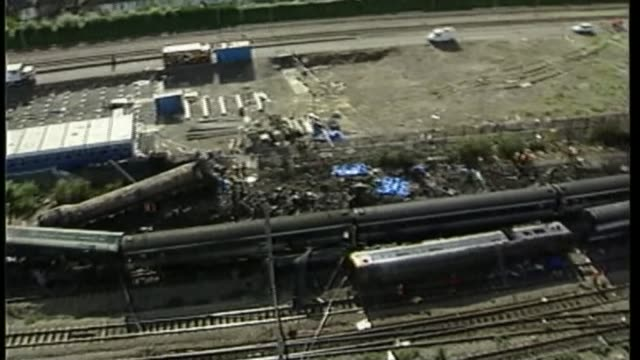 inquiry to begin amid controversy 3 months after fire t22050230 / tx ladbroke grove various shots wreckage of trains following paddington train crash - train crash stock videos and b-roll footage