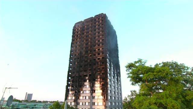 Leaked report says refurbishment 'turned tower into fire hazard' T20071709 North Kensington Latimer Road EXT Firedamaged wall of Grenfell Tower Piece...