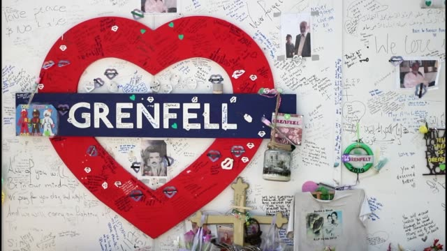 man charged over video showing burning model of grenfell tower england london north kensington ext various shots of grenfell memorial wall with... - chelsea flower show stock videos & royalty-free footage