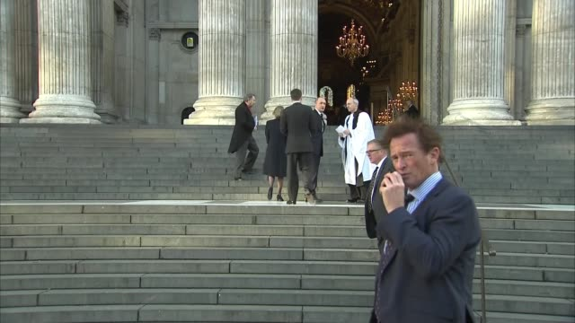 memorial service prince harry and duke and duchess of cambridge arrival england london st paul's cathedral ext charles bowman arriving to attend... - memorial event stock videos and b-roll footage