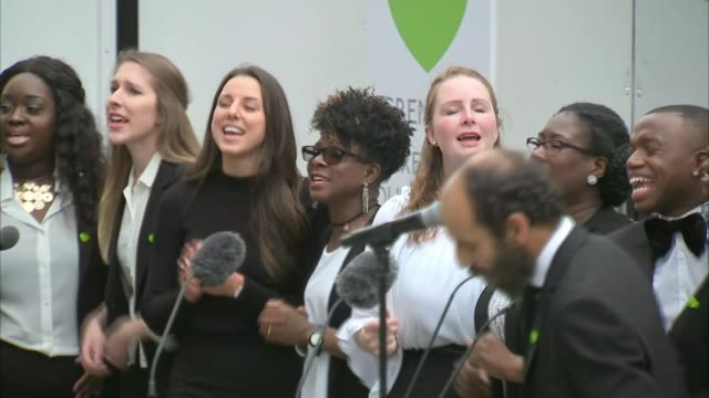 day of commemorations UK London Grenfell Tower fire anniversary memorial service choir Adele Stormzy ENGLAND London North Kensington EXT Adele looks...